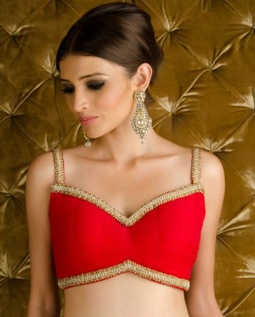 from Kisneel by PAM MEHTA's Orange Red Embellished Blingy Saree with Stitched Blouse $1,710
