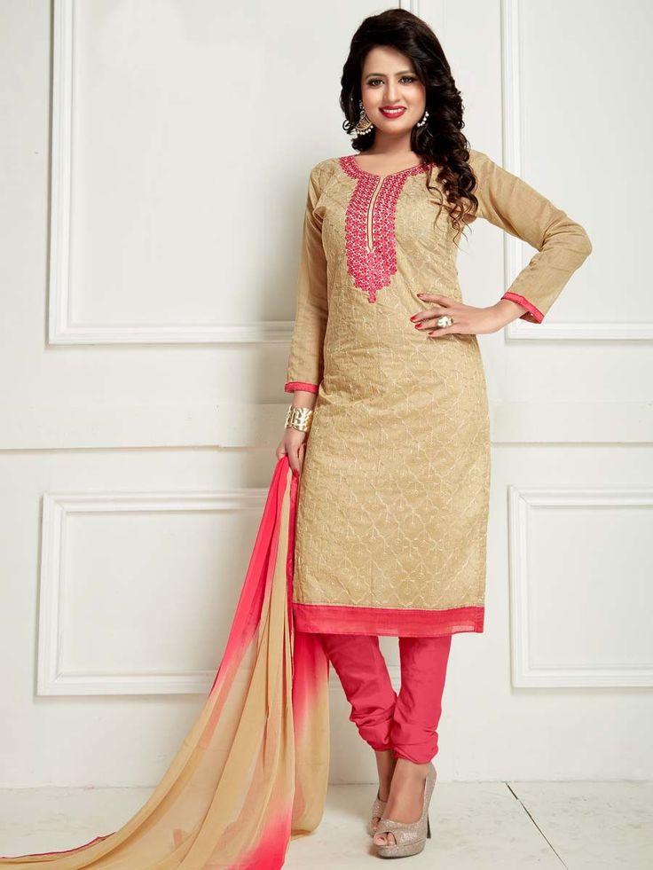 Enhancing beige color kameez invented on chanderi having resham work.  Item code: SLANB2004 Shop more: http://www.bharatplaza.com/women/salwar-kameez.html