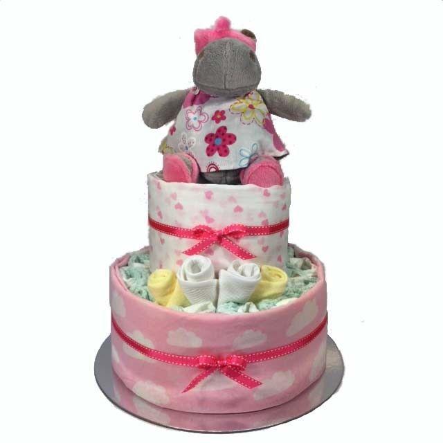 Sunny Hippo Nappy Cake - 2 Tier