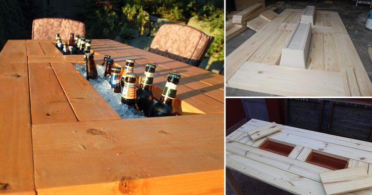Aprende a hacer tú mismo una mesa-hielera para tu jardín utilizando madera y macetas plásticas.