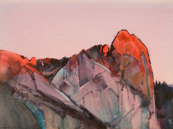 Sentinel Alpenglow, Yosemite  by Stephen Quiller. Watercolour
