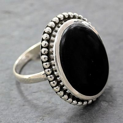Women's Handcrafted Onyx Cocktail Ring from India - Mysterious Moon | NOVICA