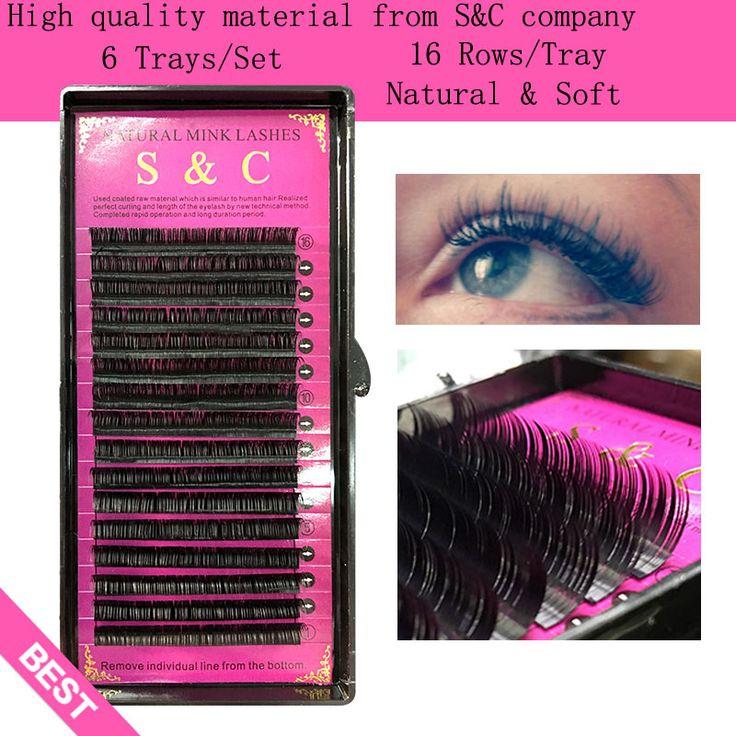 S & C, 6 fällen set, 16 reihen/fach, hochwertige nerz wimpernverlängerung einzelnen wimpern, gefälschte wimpern, natürlichen wimpern
