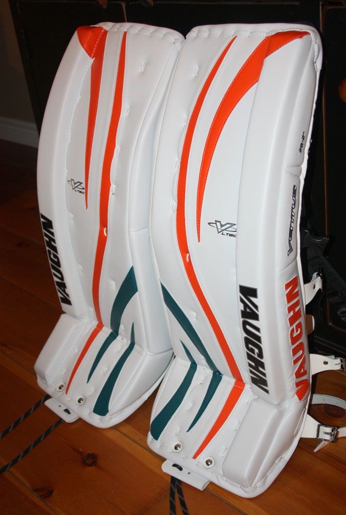 Here's a beautiful brand new set of Vaughn pads that were originally White and Orange. As beautiful as they are, their owner felt they needed just a little something extra. So he picked up some of our Teal PadSkinz and added the small accents you see at the bottom of the pads. The changes you make to your gear don't always have to be major changes. Small changes like this one add a subtle yet classy look. www.padskinz.ca