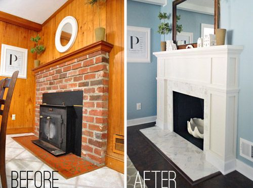 Our $200 Fireplace Makeover (Marble Tile & A New Mantel) | Young House Love