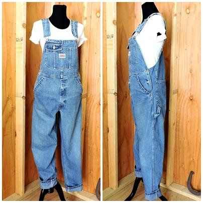 56214f2b 80s vintage Ikeda overalls / M / L / mens bib overalls / over all jeans /  1980s Ikeda made in Canada / GravelStreetVintage