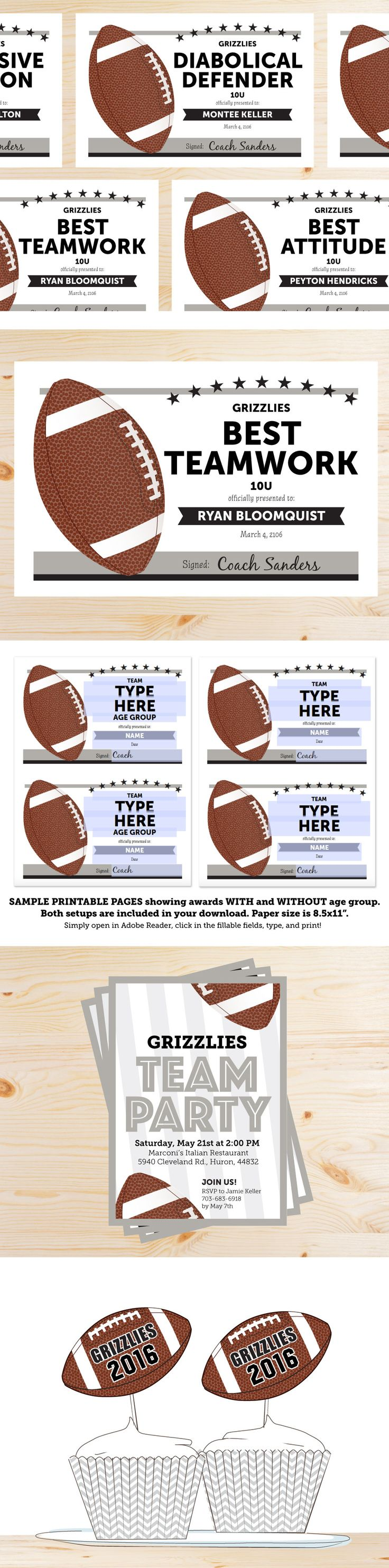 Football Team Party Award Certificates, Invitations, and Cupcake Toppers. Awesome! Also a list of award suggestions.