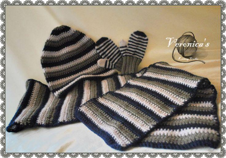 Crochet hat-scarf Knit gloves (BOY)
