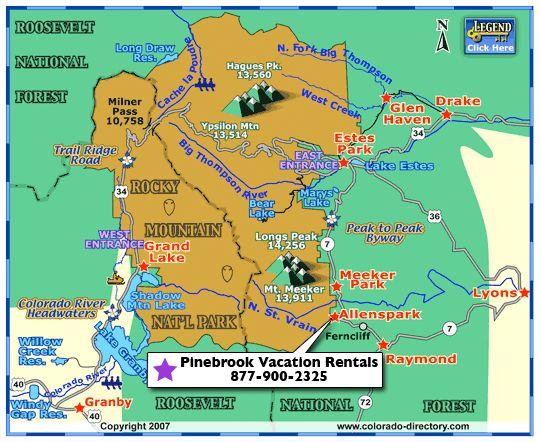 Rocky Mountain National Park Map Colorado Vacation Directory