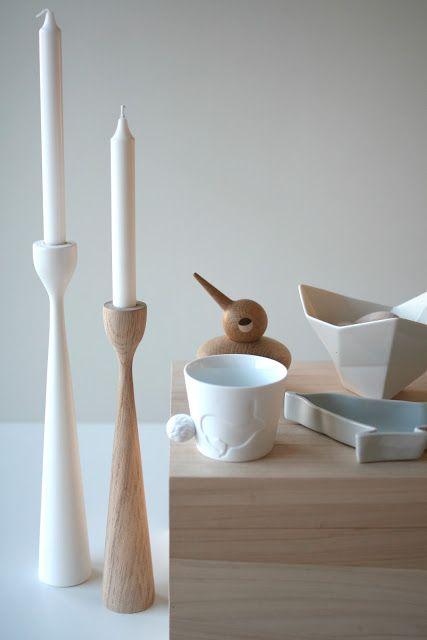 Original oak and white Rolf™ candlesticks by Maria Lovisa Dahlberg, FREEMOVER.se  Celebrating 10. With Scandinavian friends. @fangblikk