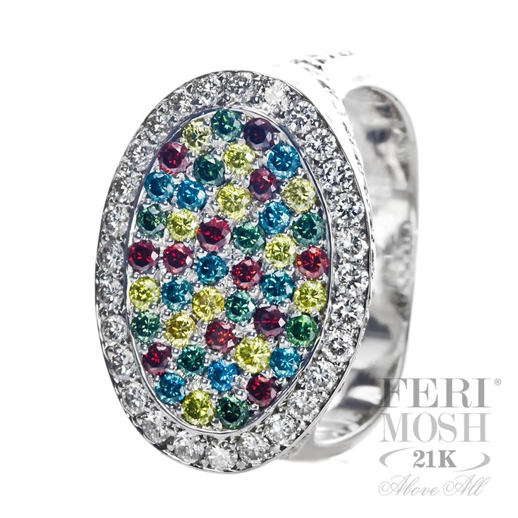 FERI MOSH Colors Ring - 21K White Gold, covered in red, green, blue, canary, black and white diamonds.  A true masterpiece!  $8,006.00  #jewelry #ring