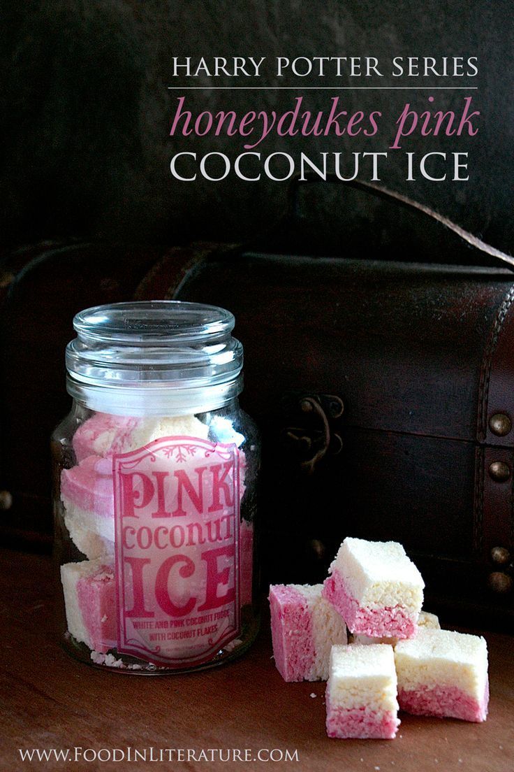 Harry Potter Honeydukes Pink Coconut Ice recipe   No bake and super simple recipe that is perfect for a quick Harry Potter party dish!
