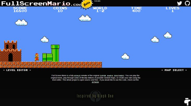 """Full Screen Mario"" is a version of the original game that you can play online for free within a standard browser. #Fun #VideoGames"