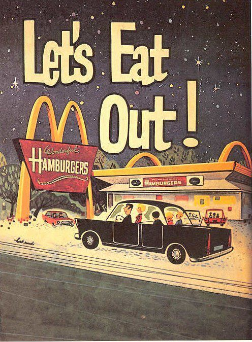 McDonald's vintage advertisement Back when eating out was a treat. And eating in the car..! Wow!