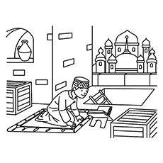 Ramadan Coloring Pages - Kid Offering Ramadan Namaz