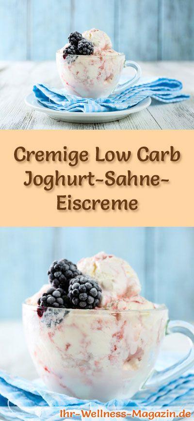 Rezept für Low Carb Joghurt-Sahne-Eis - ein einfaches Eisrezept für kalorienreduzierte, kohlenhydratarme und gesunde Eiscreme ohne Zusatz von Zucker ...