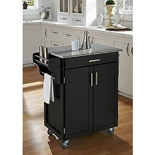 (This is not the exact one I saw, but it did have granite top. Open shelf with 2 small doors at bottom shelf and it was on sale for $179 at K-Mart)Create-A-Cart Cuisine Cart - Black Finish with Salt & Pepper Granite Top- Home Styles