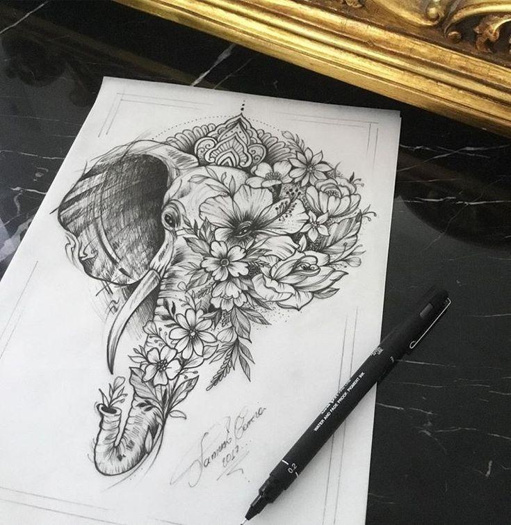 Desenho de elefante com flores. #desenho #drawing #elefante #flores #art #arte #pretoebranco