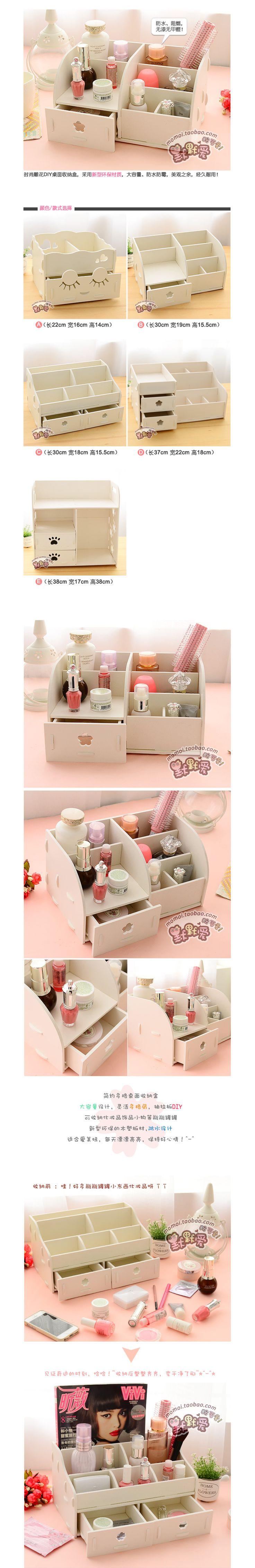 Escritorio en casa de madera DIY caja de almacenamiento para maquillaje cosméticos organizador de escritorio gabinetes con cajones en Cajas y Papeleras de Almacenamiento de Casa y Jardín en AliExpress.com   Alibaba Group