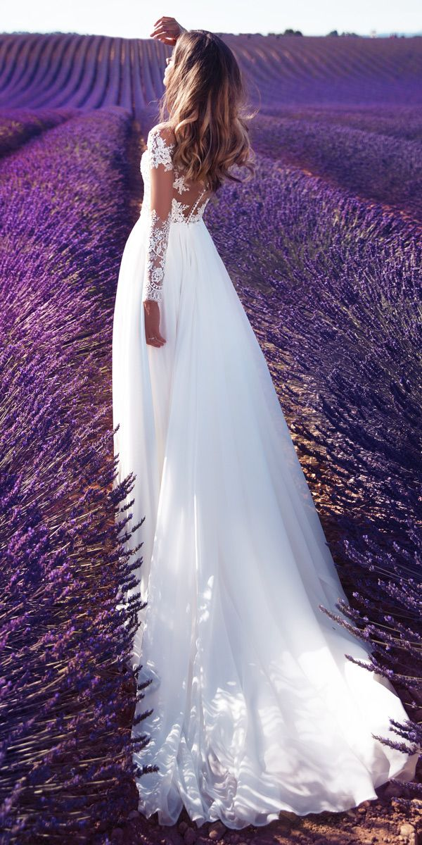 Milla Nova 2018 Wedding Dresses Collection ❤ lace milla nova 2018 wedding dresses straight illusion back long sleeves with train violet ❤ See more: http://www.weddingforward.com/milla-nova-2018-wedding-dresses/ #weddingforward #wedding #bride