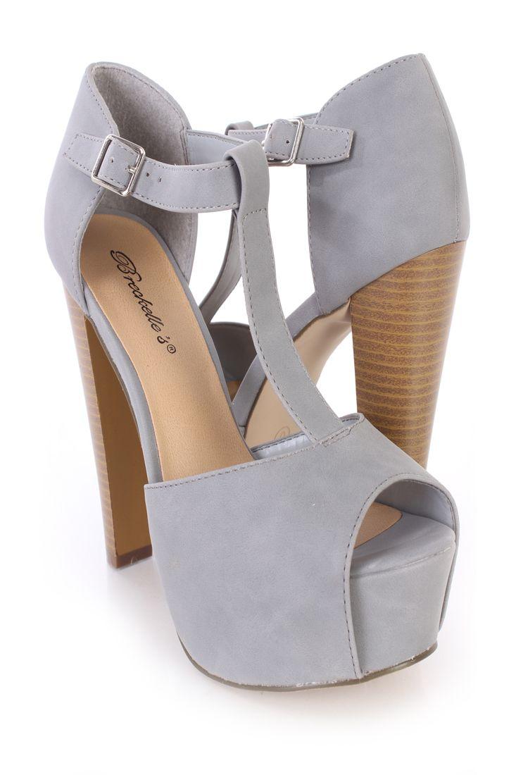 Grey Chunky Heels