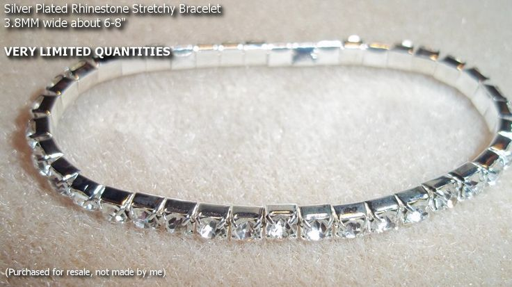 "Silver plated stretch Rhinestone Bracelet  About 3.8mm wide. Aprox size: 6-8"" comfortably. Not made by me, but nice and for a good price!  SP $5.00 b111     http://battlebeads.com/images/done/reg/bracelets/2/b111.jpg"