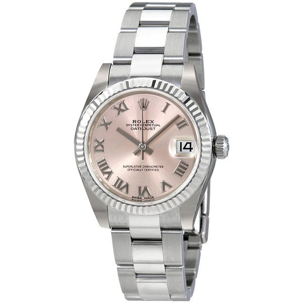 Rolex Datejust Lady 31 Pink Dial Stainless Steel Oyster Bracelet... ($6,895) ❤ liked on Polyvore featuring jewelry, watches, rolex wrist watch, crown jewelry, rolex crown, roman numeral wrist watch and rolex watches