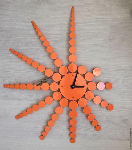"""Metal clock / Часы для дома ручной работы. Ярмарка Мастеров - ручная работа. Купить Настенные часы """"Punktid"""" 70/60см. Handmade. Оранжевый"""