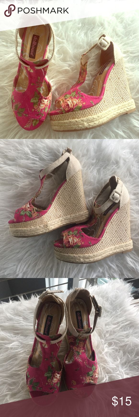 Dollhouse Floral Espadrille Wedges Dollhouse Floral Espadrille Wedges! Never Worn! Bought at a boutique in Miami, FL and their home has been my closet ever since! Do not come with original box but in brand new condition! Perfect for summer  Dollhouse Shoes Espadrilles
