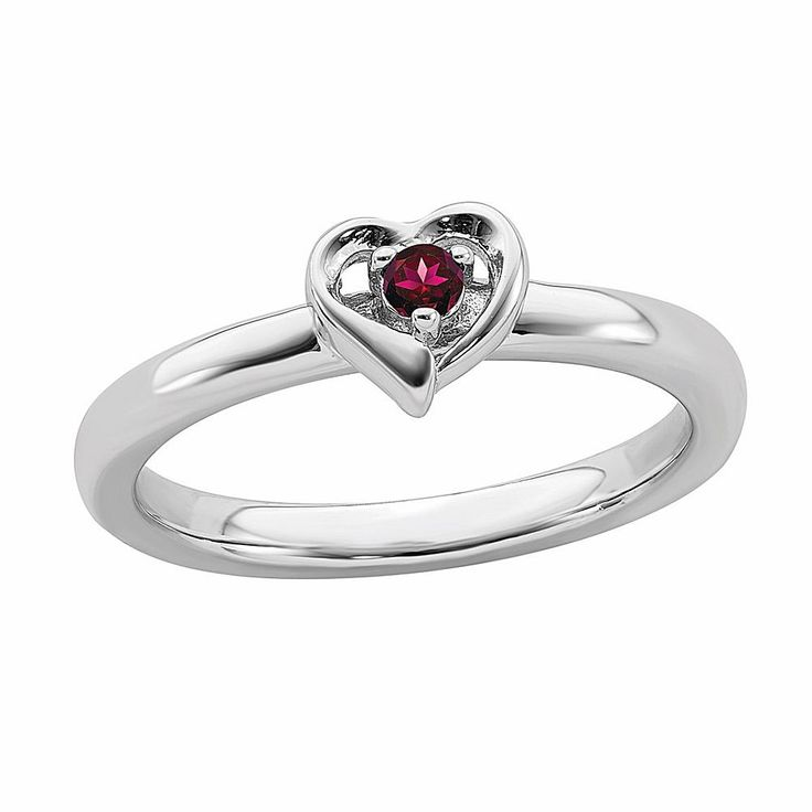 Quality Gold Simply Stacks™ Sterling Silver Birthstone Heart Stack Ring – Clear/No Color