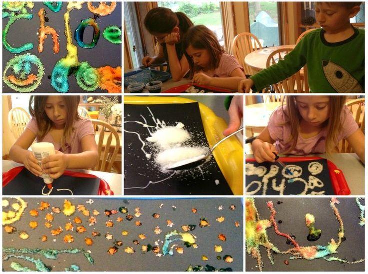 Salt art <--Such a fun, pretty (quiet!) project and a fine motor gem. Love!