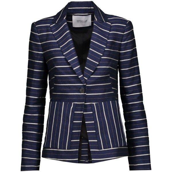 DEREK LAM 10 CROSBY   Striped metallic twill blazer ($305) ❤ liked on Polyvore featuring outerwear, jackets, blazers, stripe blazers, twill blazer, blue blazer, blue striped jacket and metallic jacket