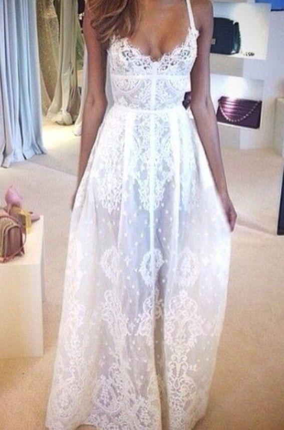 bohemian white maxi lace dress