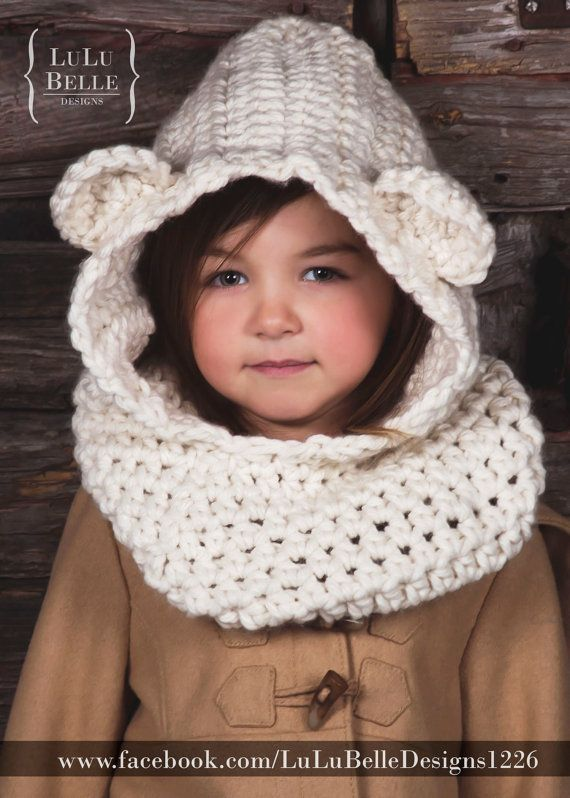 Bear Cowl Knitting Pattern Free : infant child adult chunky crochet BEAR cowl by loveLuLuB on Etsy, USD39.99 Sc...