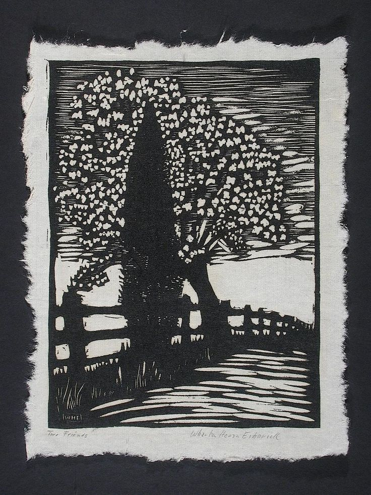 Two Friends - woodblock print 1923 - Wharton Esherick 1887-1970