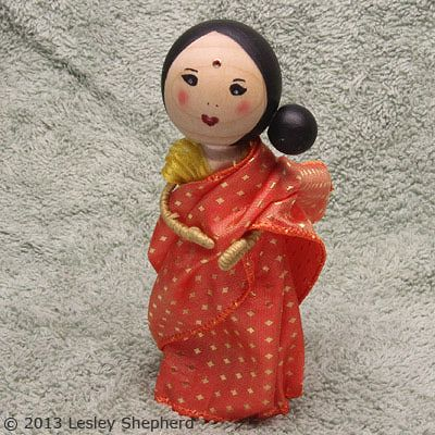 Make a Clothespin Doll With a Traditional Sari Costume