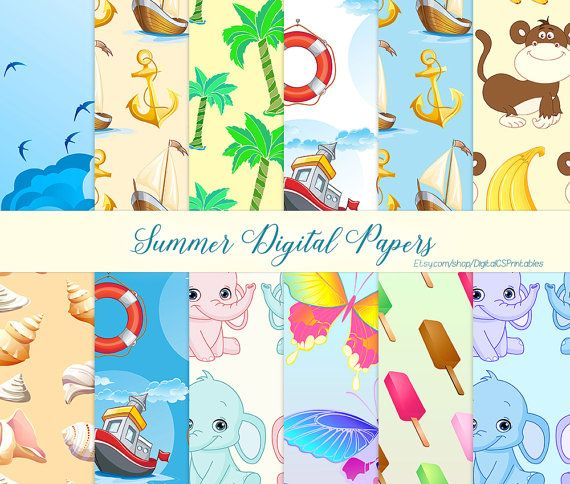 Summer digital paper summer Kids digital paper Nautical digital paper nautical scrapbook paper 12x12 Anchor digital paper commercial use by DigitalCSPrintables
