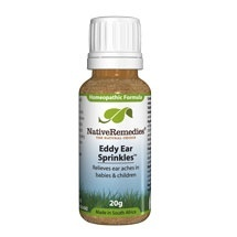 Eddy Ear Sprinkles is a safe, non–addictive, FDA–registered natural remedy containing 100% homeopathic ingredients formulated to soothe and relieve ear ache associated with ear infection or excessive ear wax.  Eddy Ear Sprinkles supports ear clarity and ear health in babies, toddlers and young children under 10. It also reduces inflammation associated with swimmer's ear.