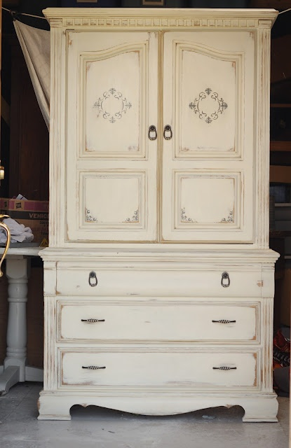 Chalk Paint Shabby Armoire By Redemption Refinishing Old White