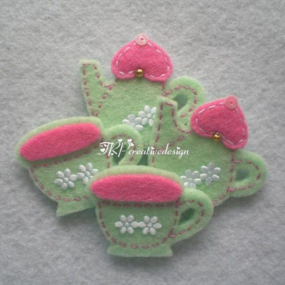 Handmade Teapot and Teacup Set Felt by TRPcreativedesign01 on Etsy, $4.00