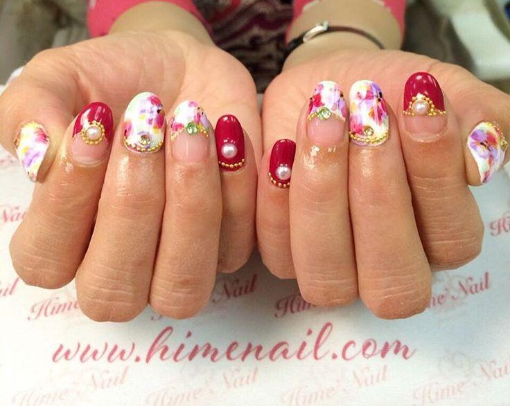www.himenail.com call for an appointment 714-544-2364 Nails by Chihiro #Gel #Gelnails #Flowernails #Rednails #Pearlnails #Goldstuds #Stonenails #Colorfulnails #Himenail #Nailart #ジェルネイル #赤ネイル #ネイル #花ネイル #フラワーネイル #カラフル #パールネイル #ゴールドスタッズ #姫ネイル #ネイルアート