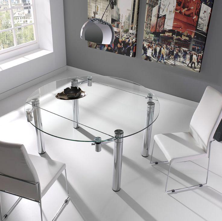 Mesa de cristal redonda extensible - Mesa de comedor extensible redonda