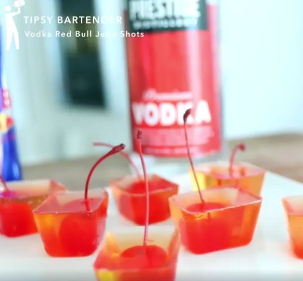 Vodka Red Bull Jello Shots - For more delicious recipes and drinks, visit us here: www.tipsybartender.com