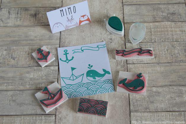 Kit Nautique N°2 - Tampons Baleine Encre Bateau...  Boutique: http://fr.dawanda.com/shop/Mimo-Creations Blog: http://carnetdedouceurs.fr