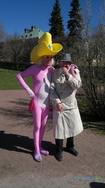 A living legend in Helsinki. Pink Panther shows up every Vappu at Kaivopuisto.