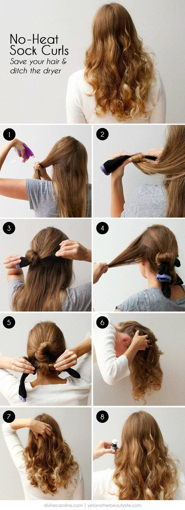 No Heat Curls Overnight is the process of curling your hairs without using the heat products check out the images and learn how to do it.