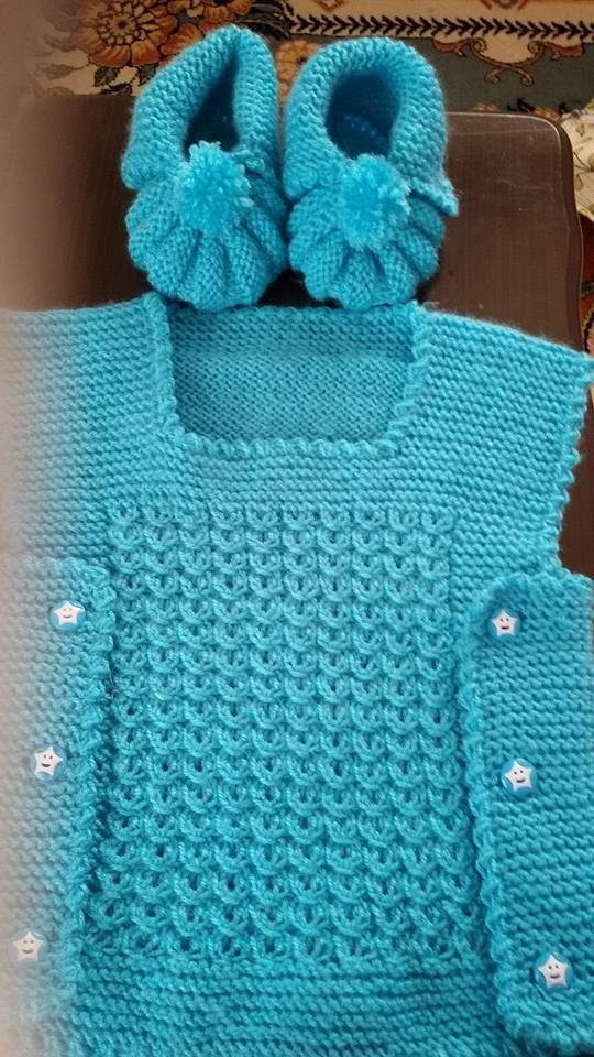 """""""Tabard"""" baby vest with matching welted toe bootees (the """"Danish pattern"""" bootees)"""