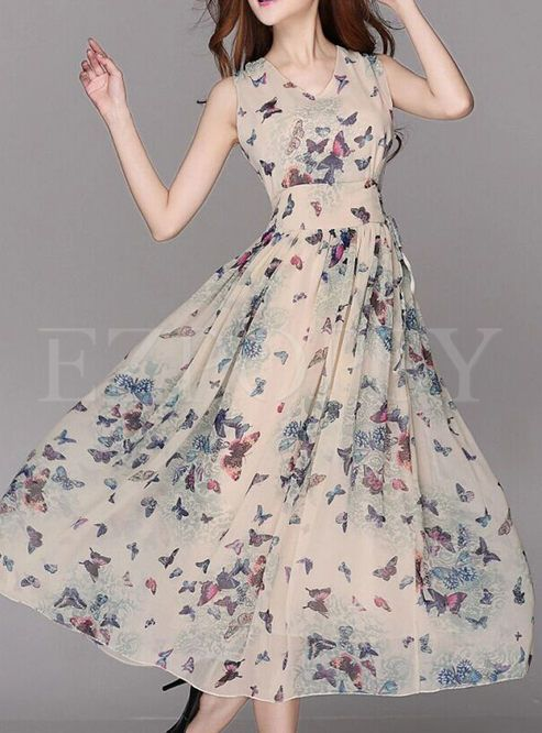 Shop for high quality Summer Chiffon Floral Print A-Line Maxi Dress online at cheap prices and discover fashion at Ezpopsy.com