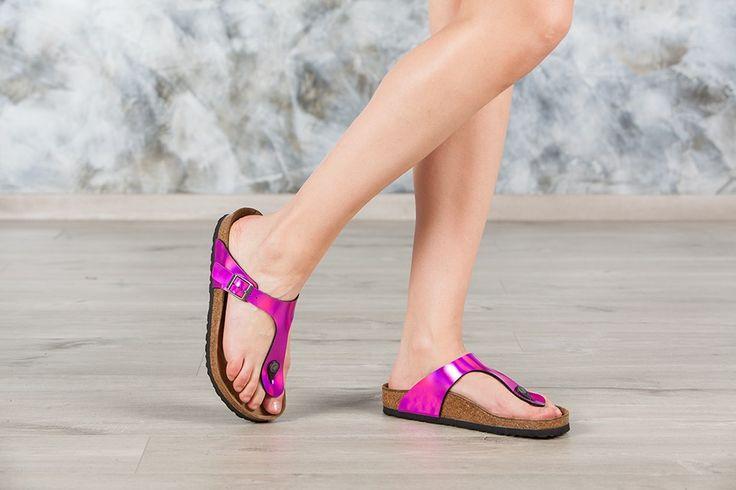 Tongs #Birkenstock ® Gizeh couleur rose pour femme en birko-Flor® Miroir (#Mirror Pink) - BK846901 | Birkenstock France