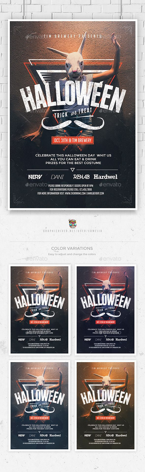 Poster design resources - Hipster Halloween Flyer Template